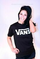 NEW WITH TAGS VANS 100% COTTON BLACK WHITE LOGO PULLOVER GRAPHIC T-SHIRTS