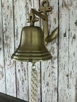 Antique Brass Finish Anchor Ship Bell w/ Rope Lanyard ~ Nautical Maritime Decor