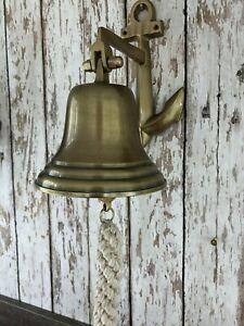 Antique Brass Finish Anchor Ship Bell w/ Rope Lanyard ~ Nautical Maritime Decor