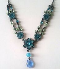 Pewter Look Blue Floral 36cm Necklace Rhinestones FREE POST