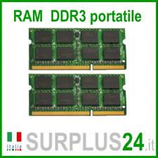 KIT RAM 4GB (2x2GB) DDR3 LAPTOP PC3-8500S 1066Mhz SODIMM Notebook Portatile