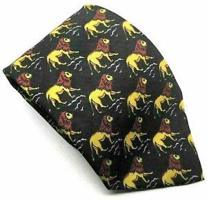 "LION ANIMALS Unbranded Men's Tie Black Novelty 100% Silk 3.75"" Width 60"" Length"