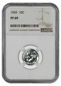 1959 PROOF ROOSEVELT DIME 10C NGC CERTIFIED PF 69 - SPOT HAZE FREE