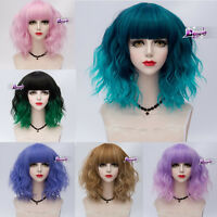 UK SELLER Lolita Heat Resistant 20 Colors Women CosplayCurly Medium Bangs Wig
