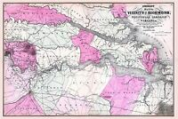 MAP ANTIQUE 1862 JOHNSON RICHMOND VIRGINIA CIVIL WAR REPRO POSTER PRINT PAM1798