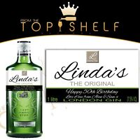 personalised London Gin bottle label birthday any occasion Gordons