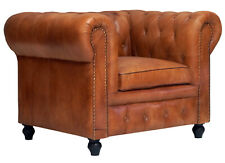 Chesterfield Top Grain  Brown Distressed Leather Button Tufted One Seater Sofa