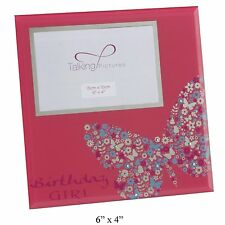 """New Butterfly Birthday Girl Photo Frame Gift Pink 6"""" x 4"""""""