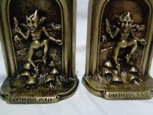 Old Dartmoor Pixie Devon Fairies Luck Bringers Bronze Bookends English Patent