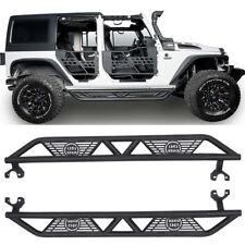 Pair Black Iron Blade Side Step Nerf Bars for Jeep Wrangler 2007-2018 JK 4Door