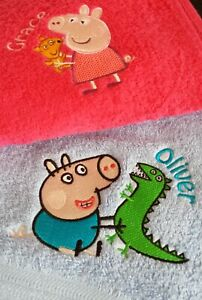 Personalised Embroidered Peppa George Pig Cotton Hand / Bath Towel / Facecloth