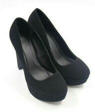 Charlotte Russe Womens Ladies Black Nubuck Platform Stiletto Heels Shoes Size 7M
