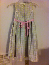 Girls Charter Club Spring Dress Lime Green Plaid Pink Ribbon Size 10 EUC!!!
