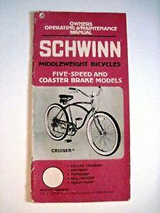 "1979 Owers Operating & Maintenance Manual for ""Schwinn"" Cruiser Bicycles    *"