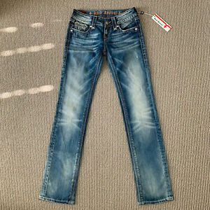 Rock Revival Womens Size 26x31.5 Alanis Straight Jeans Thick Stitched Brand New