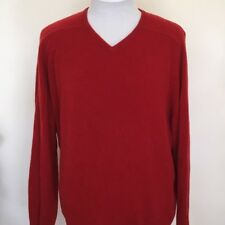 Field Gear Men's 100% Cashmere Red V-Neck Sweater Sz M