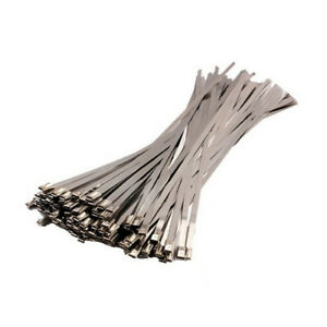 100Pcs Stainless Steel Header Wrap Self Locking Cable Zip Ties Metal Bulk Kit HY