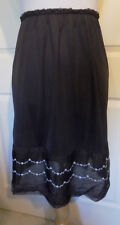 Vintage Black Nylon Slimtite Half Slip L Embroidered Flowers Lace