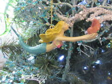 New Pretty painted Resin (but clay look) Mermaid Christmas Ornament