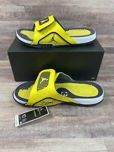 Nike Jordan Hydro IV Retro Slides Yellow White Black DN4238-701 Men's Size 10