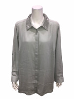 Joan Rivers Women's Silky Blouse with Embellished Collar Dove Grey 1X Plus Size