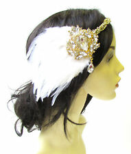 White Gold Silver Feather Headpiece 1920s Headband Flapper Great Gatsby Vtg 1825