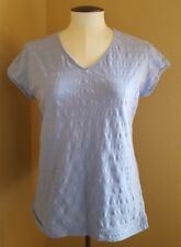 Sz PL / G petite Columbia Womans Blue Short Sleeve Shirt Top gently used & clean