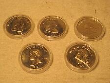 5 x Republic of Liberia Five Dollars coins Dollar Presidential Presidents U.S.