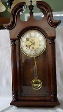 Sligh 0708-1-AN Carved Oak Chime Wall Clock Franz Hemle Movement Key Pendulum