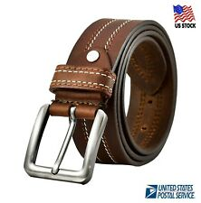 100% Genuine Leather Mens Casual Dress Jeans Belt Buckle Black Brown US Stock