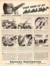1944 WW 2 Ad CHRYSLER War Production 40 mm Ack Ack U.s.s. South Dakota 041221