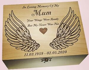 Dad Mum Daughter Son Brother Memorial Ashes Urn Keepsake Box With Angel Wings