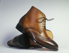 Men's Handmade Brown Ankle High Leather Boots, Men Brogue Lace Up Chukka Boots