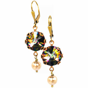 Peacock Rivoli  Crystal Faux Pearl Dangle Earrings with Crystal by Swarovski
