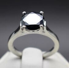 3.22cts 10.00mm Real Natural Black Diamond Engagement Size 7 Ring & $1810 Value.