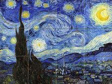 Colorful Vincent van Gogh Starry Night Ceramic Mural Backsplash Bath Tile #2186