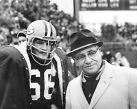 1960s Green Bay Packers RAY NITSCHKE & VINCE LOMBARDI Glossy 8x10 Photo Poster