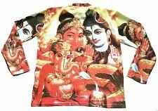 SHIVA+GANESH+PARVATI Hindu Goa Party DJ Tattoo Art Designer Long T-Shirt L/XL