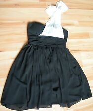 JANE NORMAN Size 12 BLACK WITH WHITE BOW TO ONE SHOULDER PARTY DRESS RRP£50