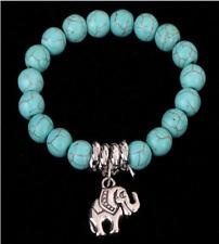 Women fashion  Retro Tibet silver Turquoise elephant pendant bracelet Jewelry