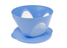 Tupperware Clear Impressions Mixing Serving Bowl + Seal Caribbean Blue 18c New