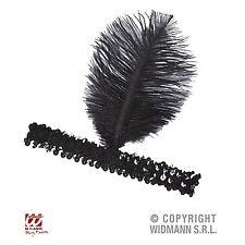 Pailletten Stirnband 20er Jahre Charleston Haarband mit Feder schwarz