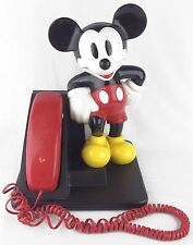 Vintage Mickey Mouse Cradle Telephone Black Red Yellow WORKS