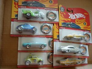 hot wheels classics w/buttons neet streeter mustang  baja bug etc lot of 7