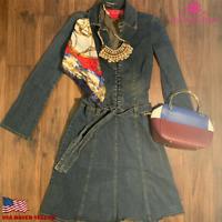 Hot Kiss Women's Long Sleeve Fit & Flare Denim Dress Self Tie Belt Blue Size Sml