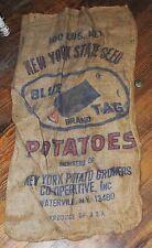 OLD NEW YORK STATE BLUE TAG SEED POTATOE BURLAP BAG  BAGS