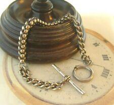 Antique Pocket Watch Chain 1890s Victorian Silver Nickel Fancy Albert With T Bar