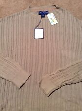 Alan Flusser sweater tan solid crewneck size large 100% cotton with tags