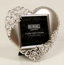 Heart Lace Polished Silver Photo Frame 14cm x 14cm In Presentation Box 20233