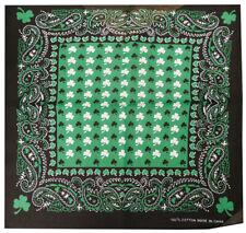 "12 Pack Paisley Black Green White Three Leaf Clover 22""x22"" 100% Cotton Bandanna"